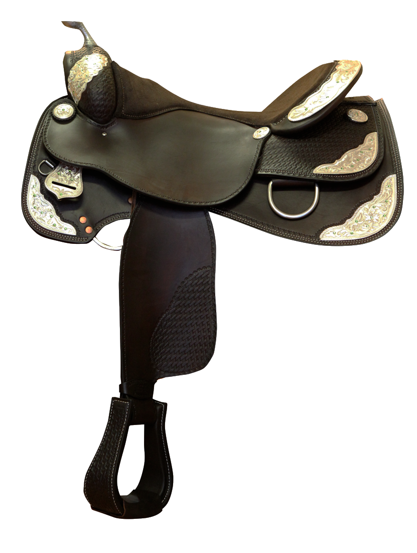 Western Show Saddle Black Silver